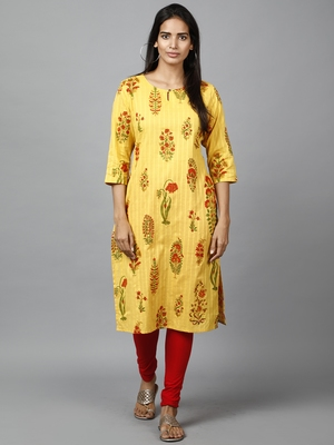 yellow  printed cotton straight kurti