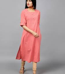 peach printed cotton straight kurti