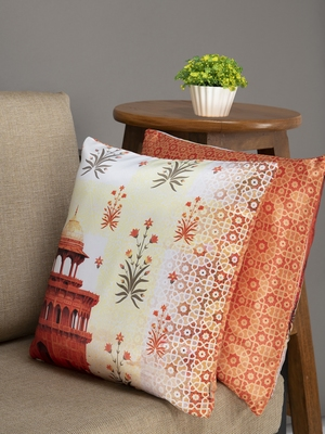 HOUZZCODE Beige & Rust Orange Set of 2 Ethnic Motifs Square Cushion Covers