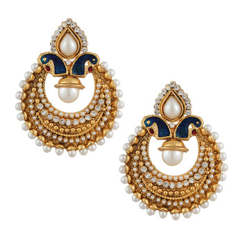 Classic Peacock Meenakari Earrings with Pearls Polki Indian Ethnic Jewelry PSEAZ002WH