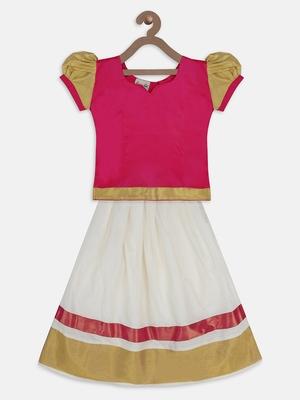 Pink South Indian Pattu Pavadai Sets for girls