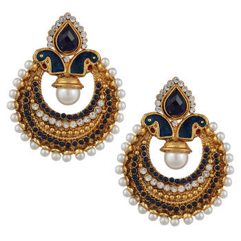 Classic Peacock Blue Stone Earrings with Pearls Polki Indian Ethnic Jewelry PSEAZ002BL