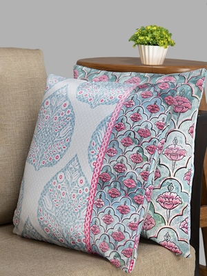 HOUZZCODE Blue Set Of 2 Ethnic Motifs Square Cushion Covers
