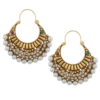 Ethnic Pearl Polki with Red Green Stones Earring By Adiva ansatocoo46mg tds1