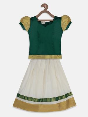 Green South Indian Pattu Pavadai Set for girls