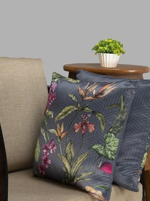 HOUZZCODE Grey & Green Set of Single Floral Square Cushion Covers