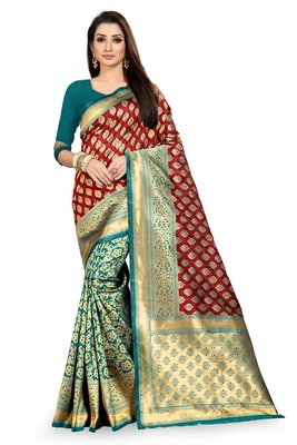 Maroon woven silk saree with blouse