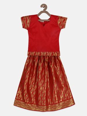Red South Indian Pattu Pavadai Set for girls