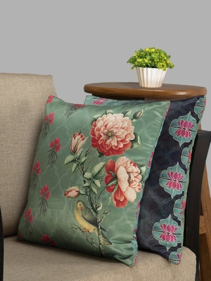 HOUZZCODE Green Set Of 2 Floral Square Cushion Covers