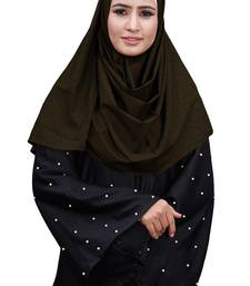 Brown Color Embossed Square Scarf Hijab For Women