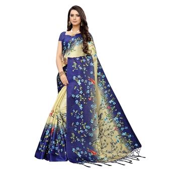 Blue printed khadi saree with blouse