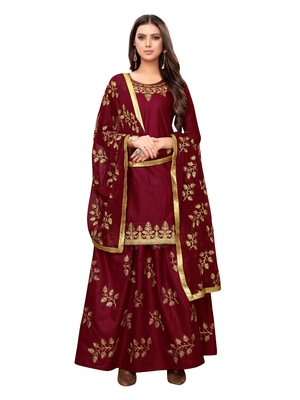 Maroon embroidered cotton salwar
