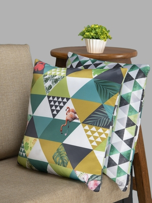HOUZZCODE Green & Black Printed Set of 2 Geometric Square Cushion Covers