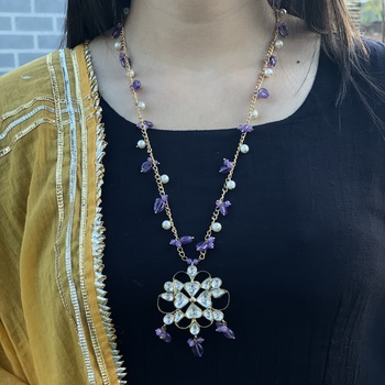 Multicoloured Silver Tone Long Necklace