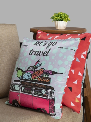 HOUZZCODE Red Set of 2 Quirky Square Cushion Covers
