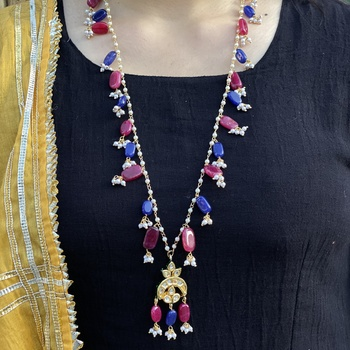Multicoloured Silver Tone Long Necklace