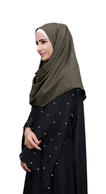 Ivory Color Embossed Chiffon Square Scarf Hijab For Women