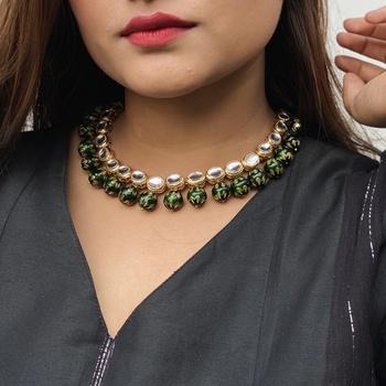 Gold Tone kundan Inspired Meenakari Beads Necklace