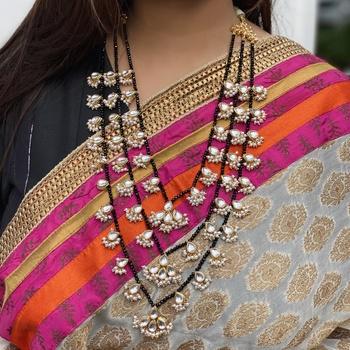 Black Gold Tone Multistrand Kundan Inspired Necklace