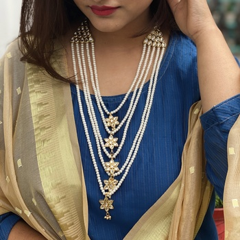 White Gold Tone Kundan Necklace