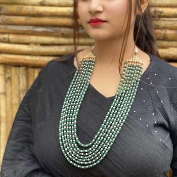 Green- White Multistrand Pearl Necklace