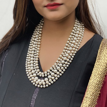 White Black Multistrand Necklace