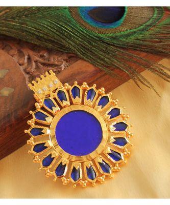 BEAUTIFUL GOLD TONE BLUE NAGAPADAM KERALA STYLE PENDANT