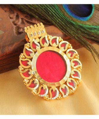 BEAUTIFUL GOLD TONE RED MANGO KERALA STYLE PENDANT
