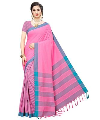 Pink  plain faux polycotton saree with blouse