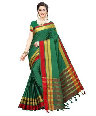 green plain faux polycotton saree with blouse