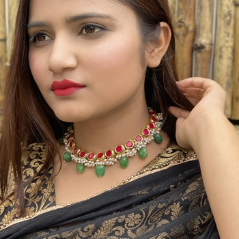 Red- Green Kundan Inspired Pearl Necklace