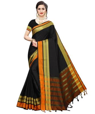black plain faux polycotton saree with blouse