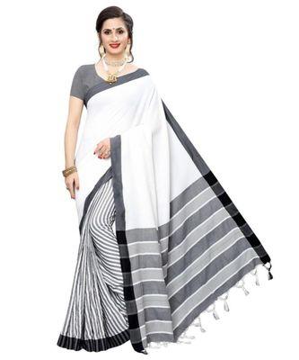 White  Printed faux polycotton saree with blouse
