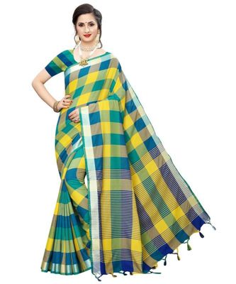 Multicolor Printed faux polycotton saree with blouse