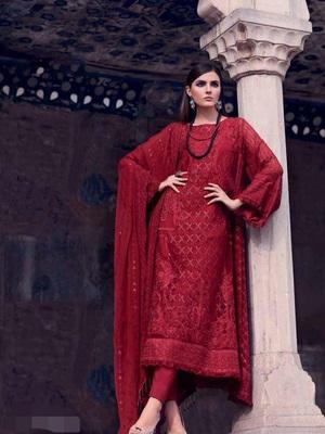 Maroon embroidered santoon salwar