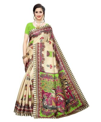 beige Printed faux polycotton saree with blouse