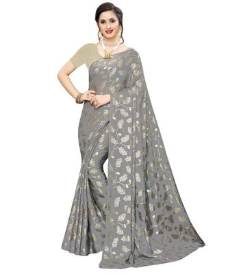 Grey Printed faux polycotton saree with blouse