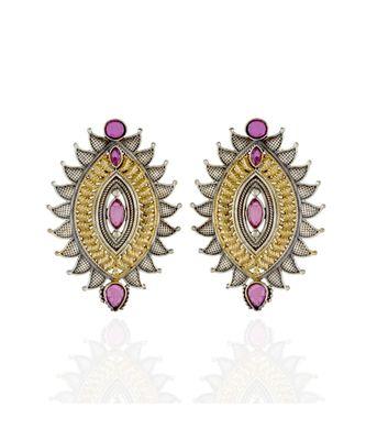 red ruby black golden oxidised smart look earring