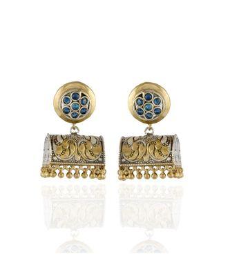 golden silver designer smart look oxidised earring