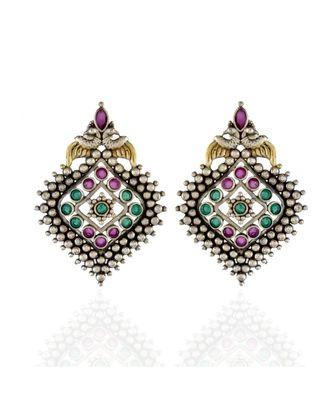 green red golden silver beautiful oxidised earring