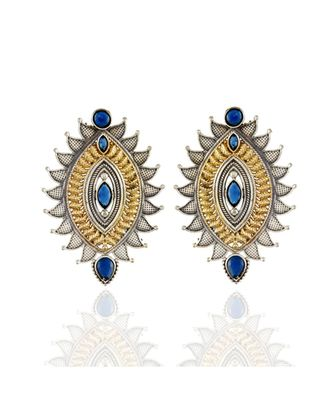 blue silver golden leaf pattern designer oxidised earring