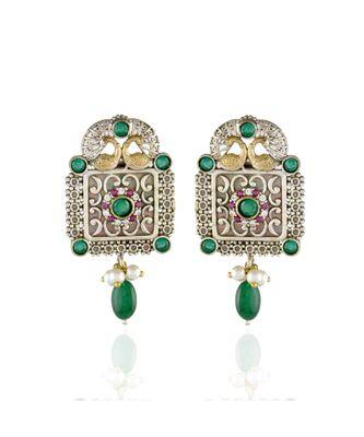 green cute delicate oxidised peacock design earring