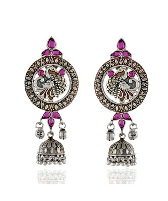 red silver beautiful stylish peacock pattern oxidised earring