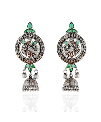 green silver beautiful stylish peacock pattern oxidised earring