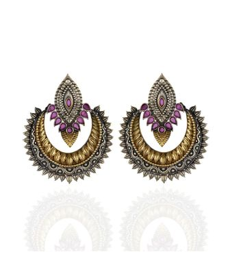 red golden silver beautiful elegant oxidised chand bali  earring