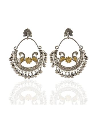 Black Golden Bali Pattern Designer Stylish Peacock Oxidised Earring
