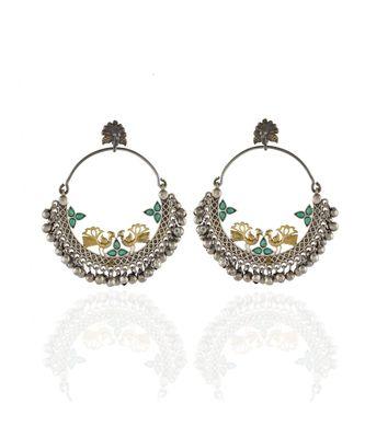 green golden silver kashmiri pattern peacock design bali earring