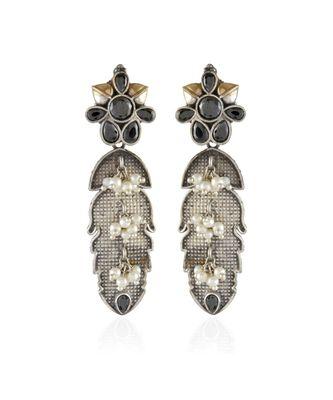 black golden silver leaf pattern cute delicate oxidised earring