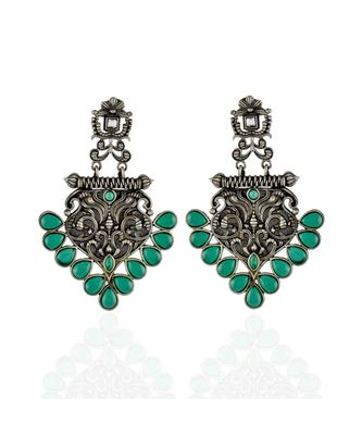green silver designer black oxidised smart look fashionable earring