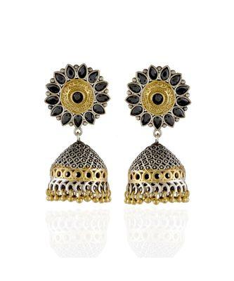 black silver golden designer jhumki pattern oxidised earring